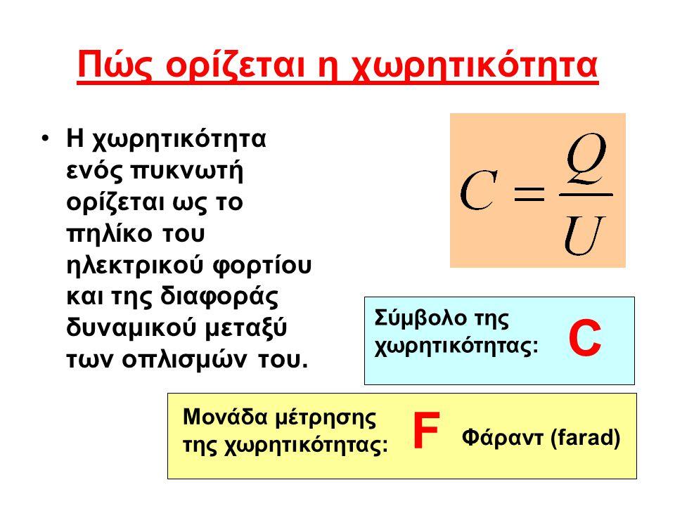 Πώς ορίζεται η χωρητικότητα Η χωρητικότητα ενός πυκνωτή ορίζεται ως το πηλίκο του ηλεκτρικού φορτίου και της διαφοράς δυναμικού μεταξύ των οπλισμών το