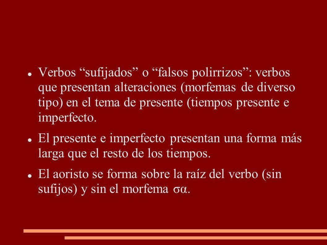 """Verbos """"sufijados"""" o """"falsos polirrizos"""": verbos que presentan alteraciones (morfemas de diverso tipo) en el tema de presente (tiempos presente e impe"""