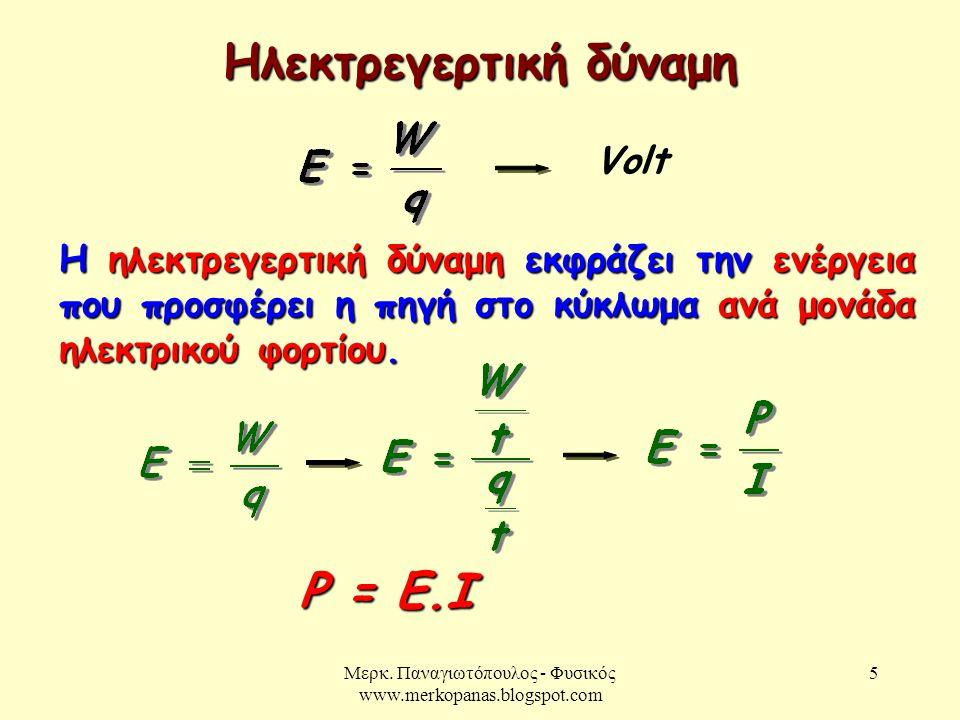 Μερκ. Παναγιωτόπουλος - Φυσικός www.merkopanas.blogspot.com 5 Ηλεκτρεγερτική δύναμη Volt Η ηλεκτρεγερτική δύναμη εκφράζει την ενέργεια που προσφέρει η