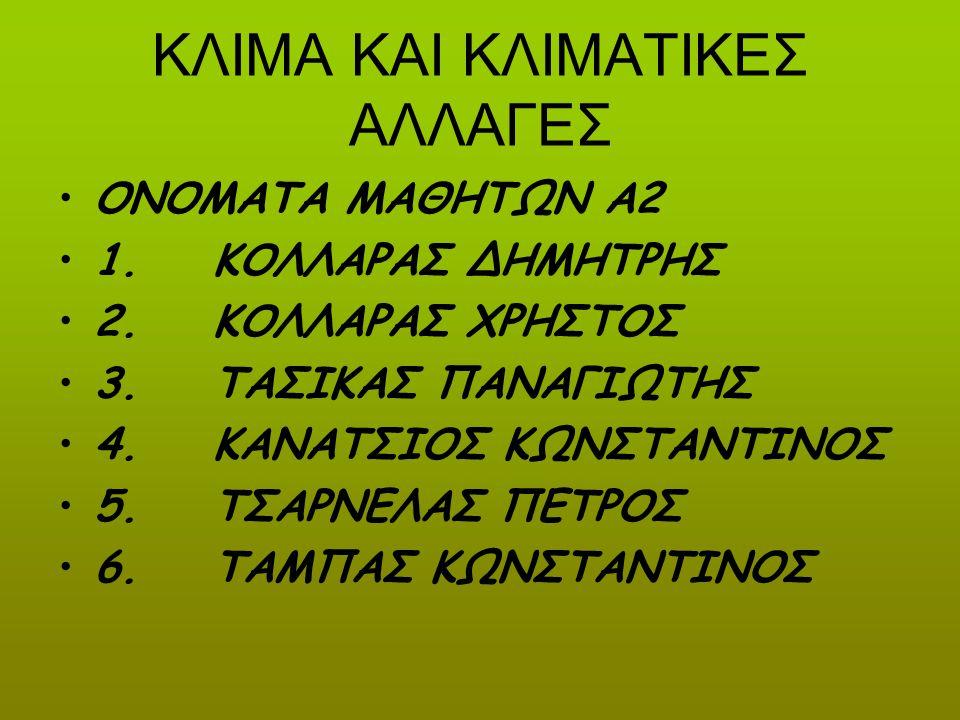 ΚΛΙΜΑ ΚΑΙ ΚΛΙΜΑΤΙΚΕΣ ΑΛΛΑΓΕΣ ΟΝΟΜΑΤΑ ΜΑΘΗΤΩΝ Α2 1. ΚΟΛΛΑΡΑΣ ΔΗΜΗΤΡΗΣ 2. ΚΟΛΛΑΡΑΣ ΧΡΗΣΤΟΣ 3. ΤΑΣΙΚΑΣ ΠΑΝΑΓΙΩΤΗΣ 4. ΚΑΝΑΤΣΙΟΣ ΚΩΝΣΤΑΝΤΙΝΟΣ 5. ΤΣΑΡΝΕΛΑΣ