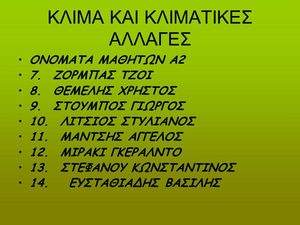 ΚΛΙΜΑ ΚΑΙ ΚΛΙΜΑΤΙΚΕΣ ΑΛΛΑΓΕΣ ΟΝΟΜΑΤΑ ΜΑΘΗΤΩΝ Α2 7. ΖΟΡΜΠΑΣ ΤΖΟΙ 8. ΘΕΜΕΛΗΣ ΧΡΗΣΤΟΣ 9. ΣΤΟΥΜΠΟΣ ΓΙΩΡΓΟΣ 10. ΛΙΤΣΙΟΣ ΣΤΥΛΙΑΝΟΣ 11. ΜΑΝΤΣΗΣ ΑΓΓΕΛΟΣ 12. Μ