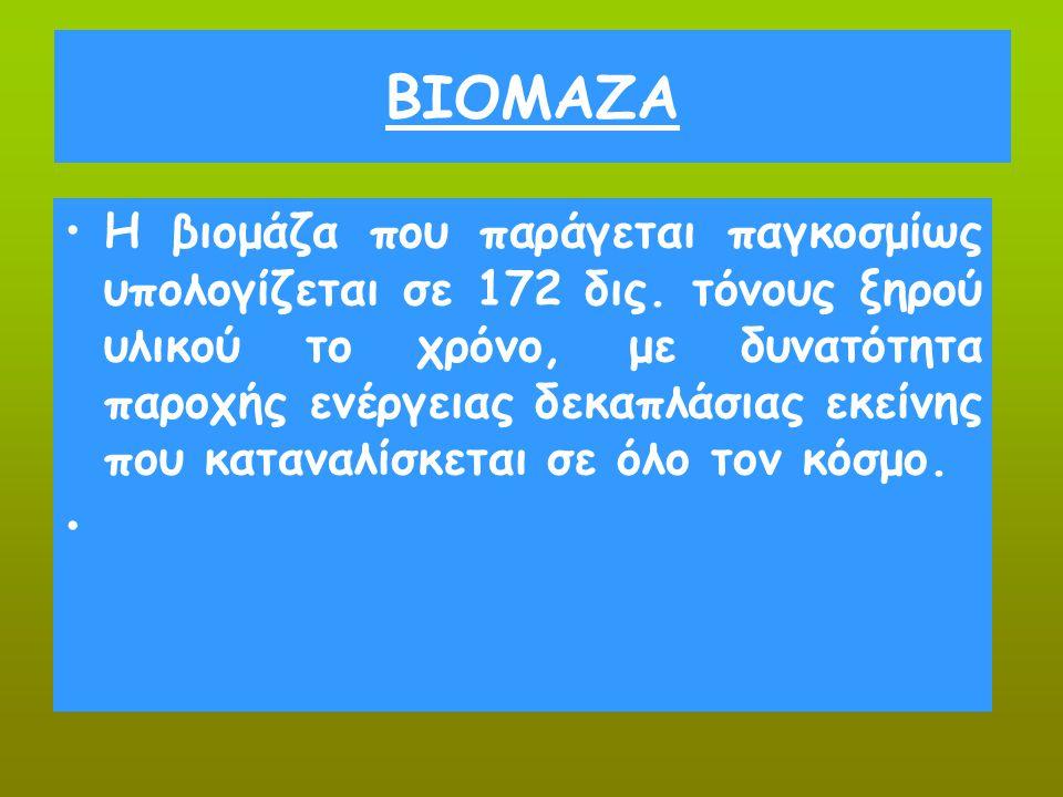 ΒΙΟΜΑΖΑ Η βιομάζα που παράγεται παγκοσμίως υπολογίζεται σε 172 δις. τόνους ξηρού υλικού το χρόνο, με δυνατότητα παροχής ενέργειας δεκαπλάσιας εκείνης
