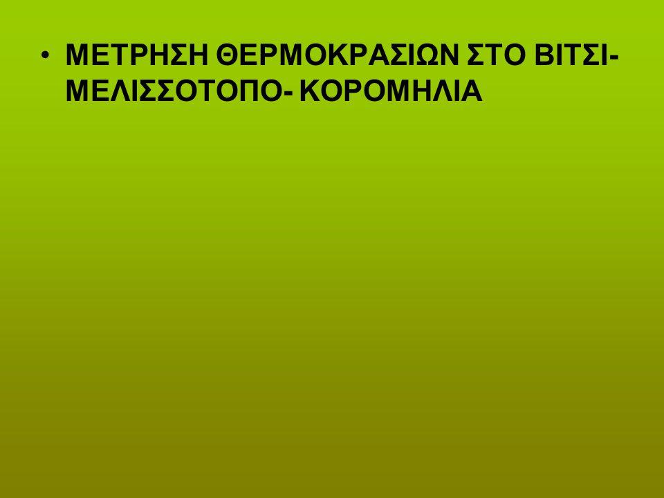 ΜΕΤΡΗΣΗ ΘΕΡΜΟΚΡΑΣΙΩΝ ΣΤΟ ΒΙΤΣΙ- ΜΕΛΙΣΣΟΤΟΠΟ- ΚΟΡΟΜΗΛΙΑ