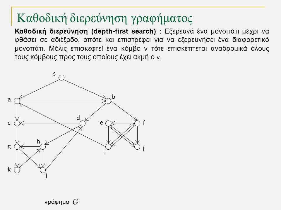 Καθοδική διερεύνηση γραφήματος s a c g k h l d b e i j f γράφημα Καθοδική διερεύνηση (depth-first search) : Εξερευνά ένα μονοπάτι μέχρι να φθάσει σε α