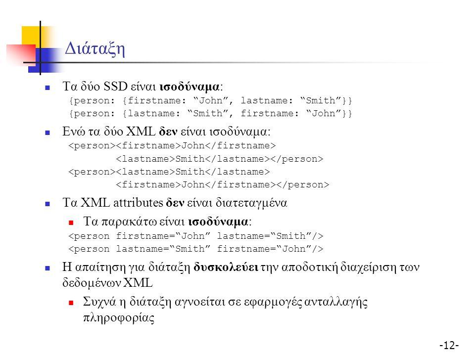 -12- Διάταξη Τα δύο SSD είναι ισοδύναμα: {person: {firstname: John , lastname: Smith }} {person: {lastname: Smith , firstname: John }} Ενώ τα δύο XML δεν είναι ισοδύναμα: John Smith John Τα XML attributes δεν είναι διατεταγμένα Τα παρακάτω είναι ισοδύναμα: Η απαίτηση για διάταξη δυσκολεύει την αποδοτική διαχείριση των δεδομένων XML Συχνά η διάταξη αγνοείται σε εφαρμογές ανταλλαγής πληροφορίας
