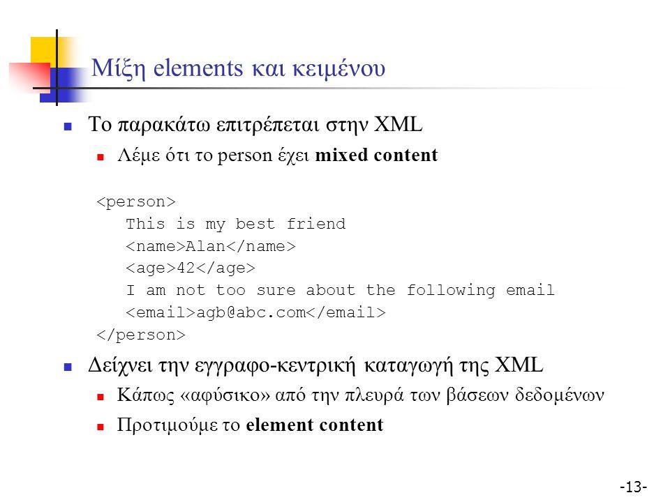-13- Μίξη elements και κειμένου Το παρακάτω επιτρέπεται στην XML Λέμε ότι το person έχει mixed content This is my best friend Alan 42 I am not too sure about the following email agb@abc.com Δείχνει την εγγραφο-κεντρική καταγωγή της XML Κάπως «αφύσικο» από την πλευρά των βάσεων δεδομένων Προτιμούμε το element content