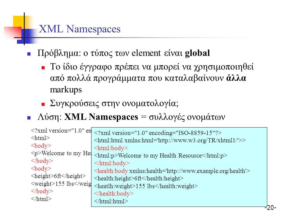 -20- XML Namespaces Πρόβλημα: ο τύπος των element είναι global Το ίδιο έγγραφο πρέπει να μπορεί να χρησιμοποιηθεί από πολλά προγράμματα που καταλαβαίνουν άλλα markups Συγκρούσεις στην ονοματολογία; Λύση: XML Namespaces = συλλογές ονομάτων Welcome to my Health Resource 6ft 155 lbs > Welcome to my Health Resource 6ft 155 lbs