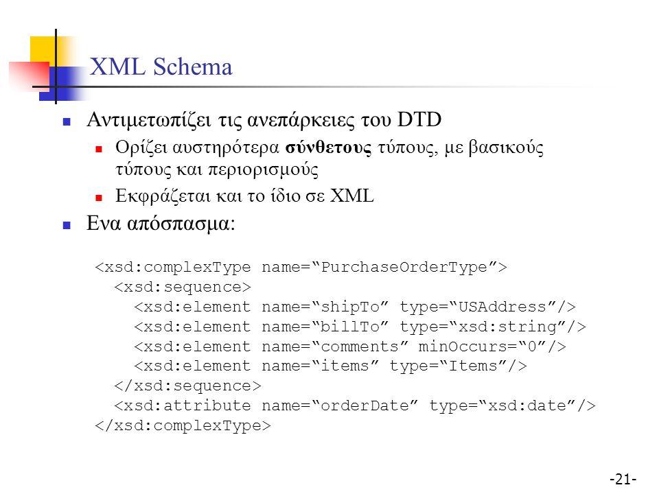 -21- XML Schema Αντιμετωπίζει τις ανεπάρκειες του DTD Ορίζει αυστηρότερα σύνθετους τύπους, με βασικούς τύπους και περιορισμούς Εκφράζεται και το ίδιο σε ΧΜL Ενα απόσπασμα: