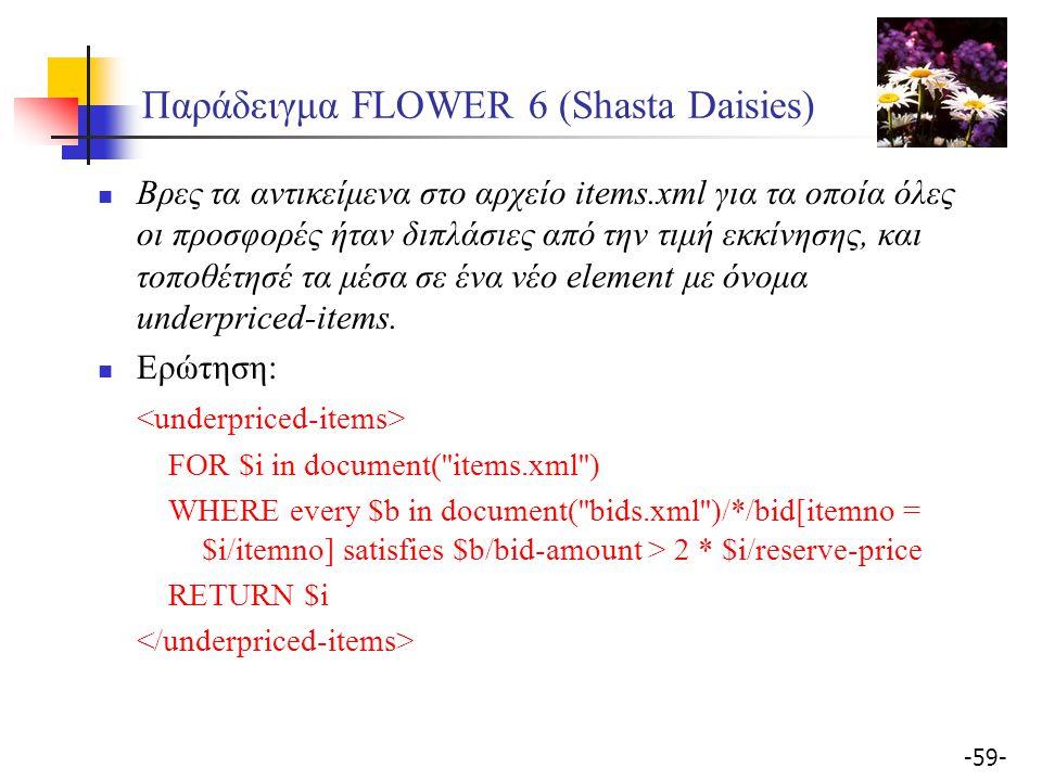 -59- Παράδειγμα FLOWER 6 (Shasta Daisies) Βρες τα αντικείμενα στο αρχείο items.xml για τα οποία όλες οι προσφορές ήταν διπλάσιες από την τιμή εκκίνησης, και τοποθέτησέ τα μέσα σε ένα νέο element με όνομα underpriced-items.