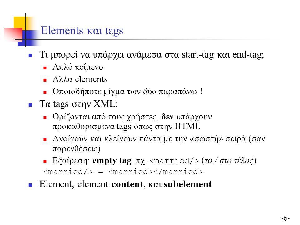 -17- Well-formed και valid Well-formed XML έγγραφα Τα tags πρέπει να είναι σωστά εμφωλιασμένα Τα attributes ενός element πρέπει να είναι μοναδικά Valid XML έγγραφο Είναι well-formed Εχει κάποιο DTD Συμμορφώνεται με αυτό το DTD Περιορισμοί του DTD σαν σχήμα για δεδομένα XML Δεν υπάρχουν ατομικοί τύποι (πχ.