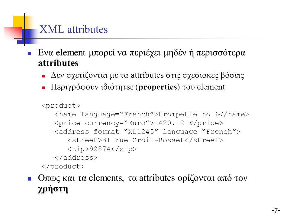 -7--7- XML attributes Ενα element μπορεί να περιέχει μηδέν ή περισσότερα attributes Δεν σχετίζονται με τα attributes στις σχεσιακές βάσεις Περιγράφουν ιδιότητες (properties) του element trompette no 6 420.12 31 rue Croix-Bosset 92874 Οπως και τα elements, τα attributes ορίζονται από τον χρήστη