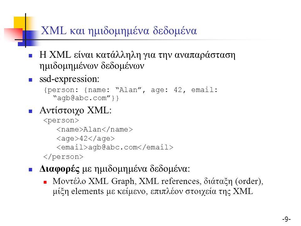 -9--9- ΧML και ημιδομημένα δεδομένα Η XML είναι κατάλληλη για την αναπαράσταση ημιδομημένων δεδομένων ssd-expression: {person: {name: Alan , age: 42, email: agb@abc.com }} Αντίστοιχο XML: Alan 42 agb@abc.com Διαφορές με ημιδομημένα δεδομένα: Μοντέλο XML Graph, XML references, διάταξη (order), μίξη elements με κείμενο, επιπλέον στοιχεία της XML