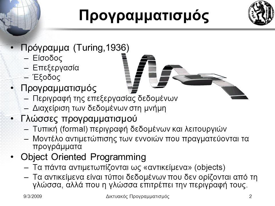 9/3/2009Δικτυακός Προγραμματισμός23 Object Oriented Programming: Polymorphism Προγραμματίστε το μια φορά, χρησιμοποιείστε το για τα πάντα Ο πολυμορφισμός είναι ένας συνδυασμός ιδιοτήτων –Η ιδιότητα των αντικειμένων να επαναπροσδιορίζουν τη συμπεριφορά τους.