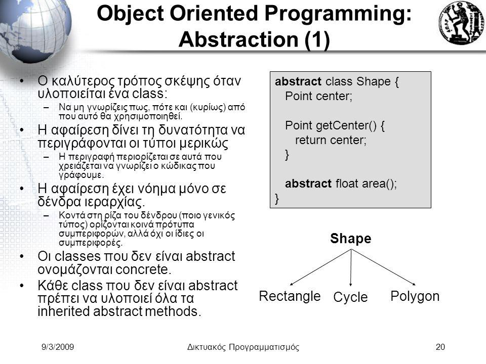 9/3/2009Δικτυακός Προγραμματισμός20 Object Oriented Programming: Abstraction (1) Ο καλύτερος τρόπος σκέψης όταν υλοποιείται ένα class: –Να μη γνωρίζει