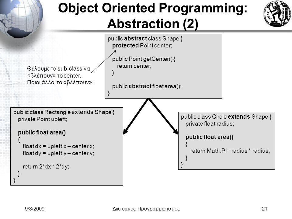9/3/2009Δικτυακός Προγραμματισμός21 Object Oriented Programming: Abstraction (2) public abstract class Shape { protected Point center; public Point ge