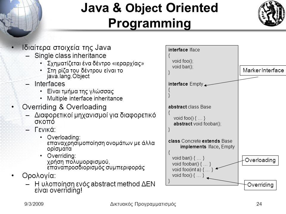 9/3/2009Δικτυακός Προγραμματισμός24 Java & Object Oriented Programming Ιδιαίτερα στοιχεία της Java –Single class inheritance Σχηματίζεται ένα δέντρο «