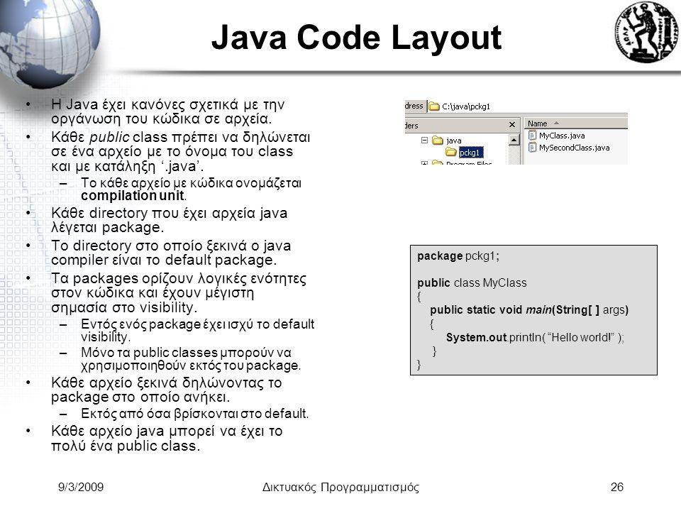 9/3/2009Δικτυακός Προγραμματισμός26 Java Code Layout Η Java έχει κανόνες σχετικά με την οργάνωση του κώδικα σε αρχεία. Κάθε public class πρέπει να δηλ
