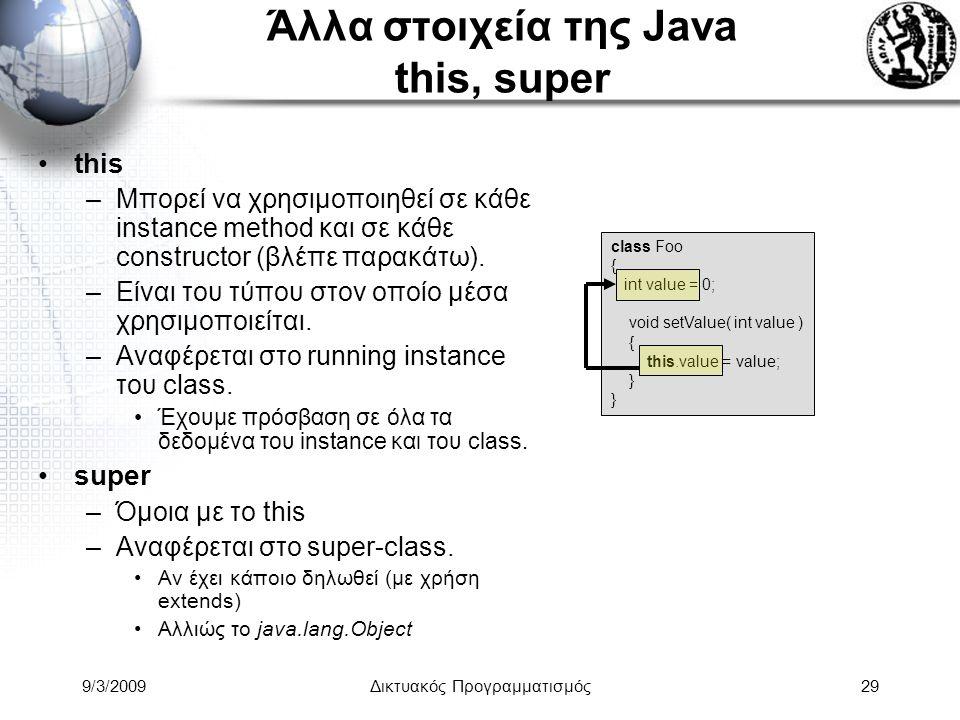 9/3/2009Δικτυακός Προγραμματισμός29 Άλλα στοιχεία της Java this, super this –Μπορεί να χρησιμοποιηθεί σε κάθε instance method και σε κάθε constructor