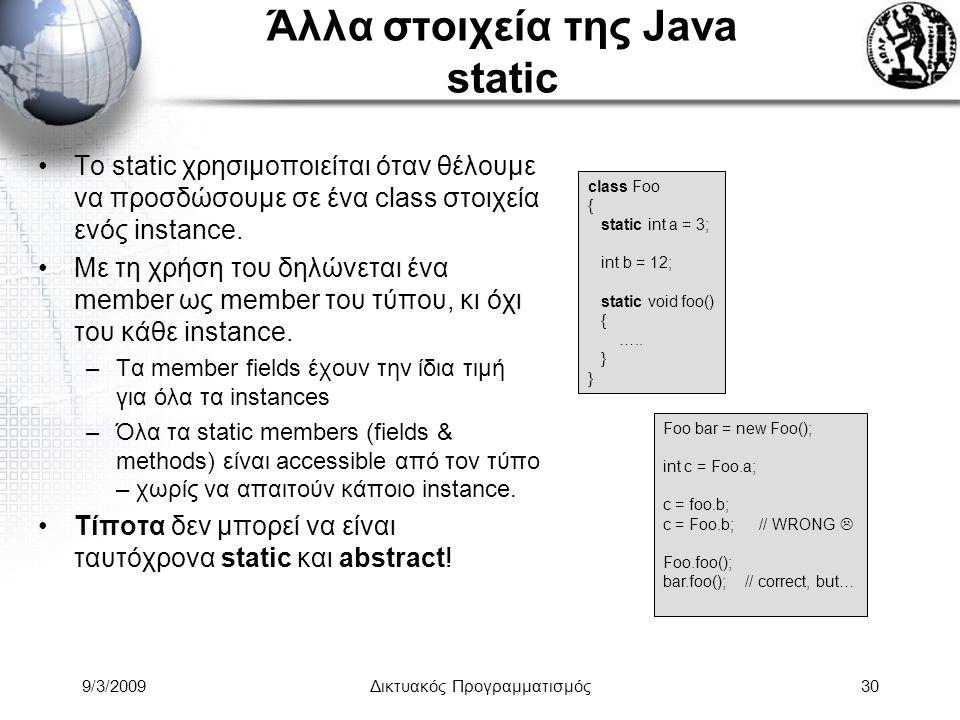 9/3/2009Δικτυακός Προγραμματισμός30 Άλλα στοιχεία της Java static Το static χρησιμοποιείται όταν θέλουμε να προσδώσουμε σε ένα class στοιχεία ενός ins