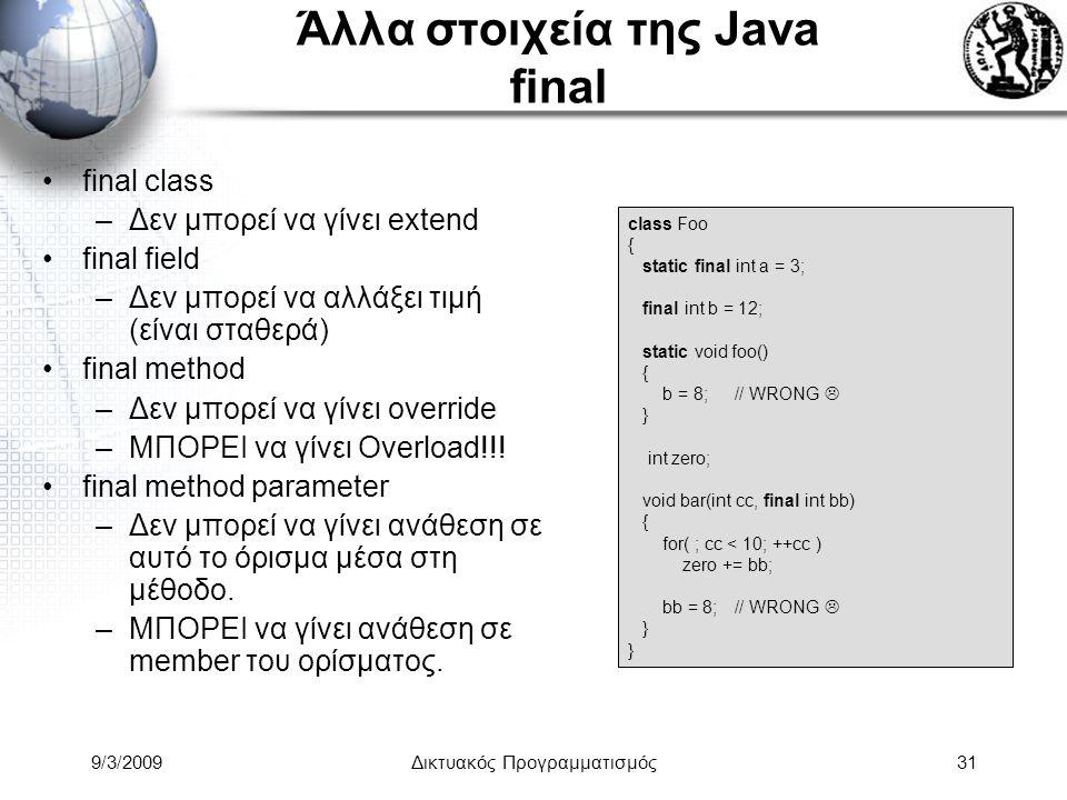 9/3/2009Δικτυακός Προγραμματισμός31 Άλλα στοιχεία της Java final final class –Δεν μπορεί να γίνει extend final field –Δεν μπορεί να αλλάξει τιμή (είνα