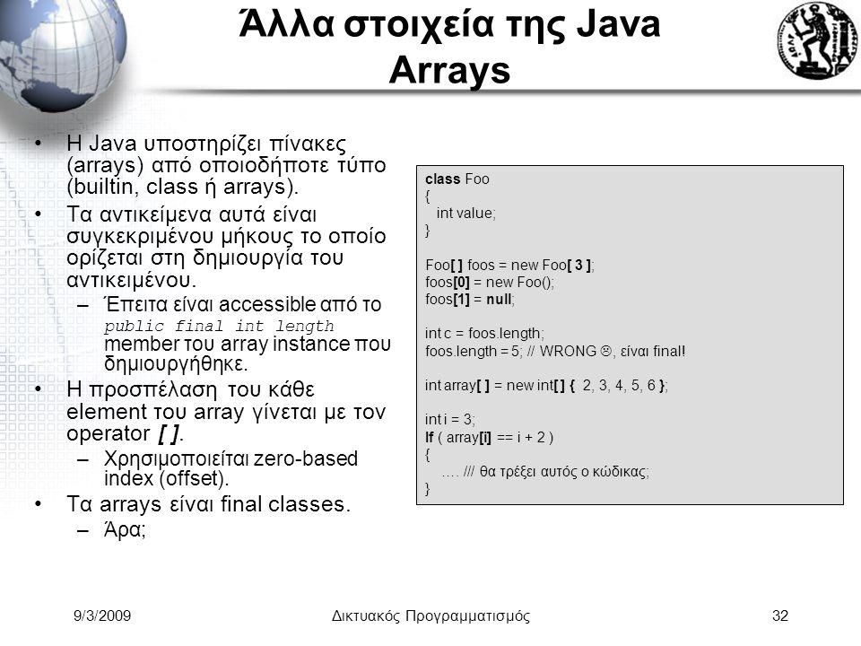 9/3/2009Δικτυακός Προγραμματισμός32 Άλλα στοιχεία της Java Arrays Η Java υποστηρίζει πίνακες (arrays) από οποιοδήποτε τύπο (builtin, class ή arrays).