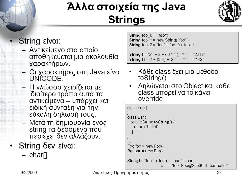 9/3/2009Δικτυακός Προγραμματισμός33 Άλλα στοιχεία της Java Strings String είναι: –Αντικείμενο στο οποίο αποθηκεύεται μια ακολουθία χαρακτήρων. –Οι χαρ
