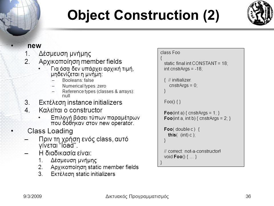 9/3/2009Δικτυακός Προγραμματισμός36 Object Construction (2) new 1.Δέσμευση μνήμης 2.Αρχικοποίηση member fields Για όσα δεν υπάρχει αρχική τιμή, μηδενί