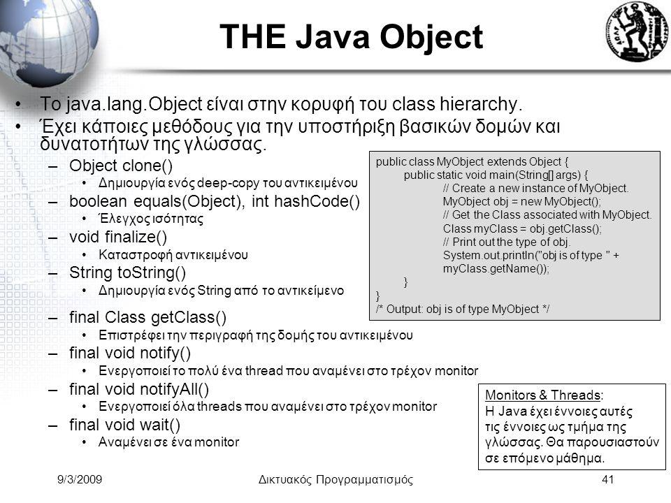9/3/2009Δικτυακός Προγραμματισμός41 THE Java Object Το java.lang.Object είναι στην κορυφή του class hierarchy. Έχει κάποιες μεθόδους για την υποστήριξ