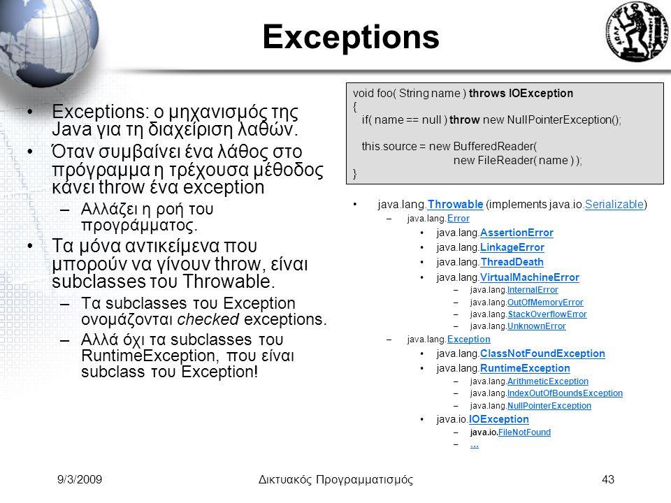 9/3/2009Δικτυακός Προγραμματισμός43 Exceptions Exceptions: ο μηχανισμός της Java για τη διαχείριση λαθών. Όταν συμβαίνει ένα λάθος στο πρόγραμμα η τρέ