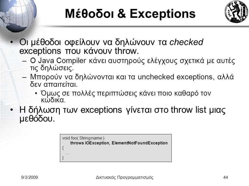 9/3/2009Δικτυακός Προγραμματισμός44 Μέθοδοι & Exceptions Οι μέθοδοι οφείλουν να δηλώνουν τα checked exceptions που κάνουν throw. –Ο Java Compiler κάνε