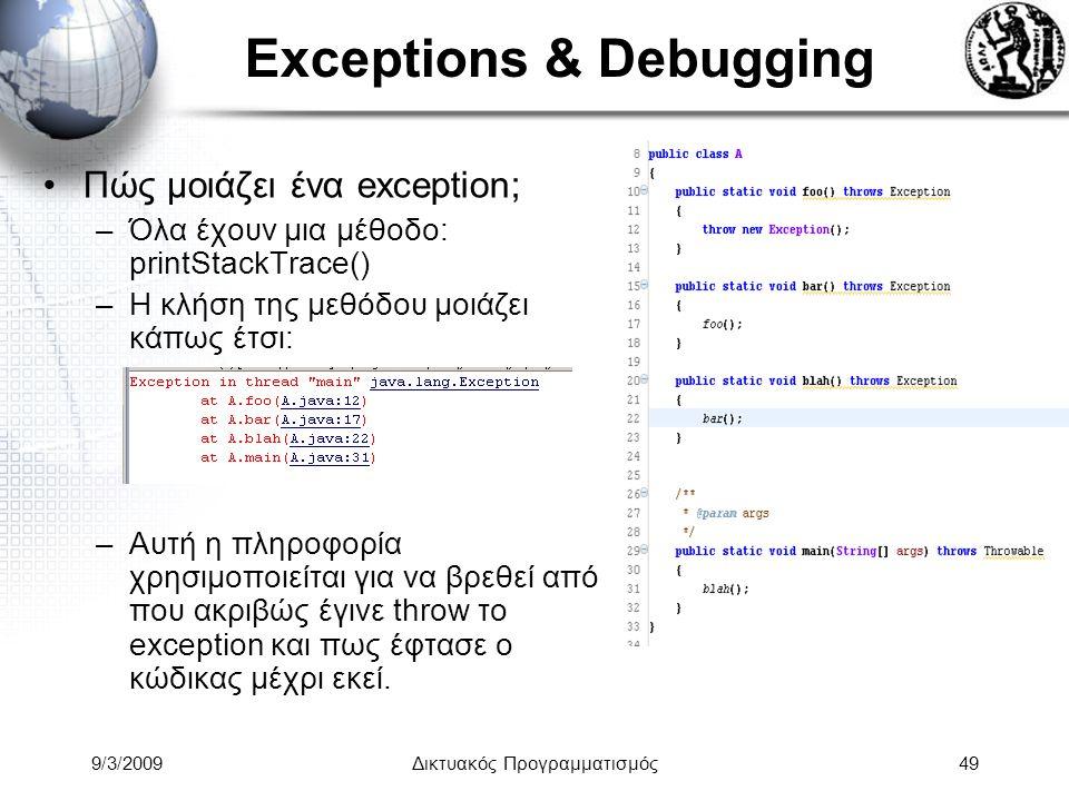 9/3/2009Δικτυακός Προγραμματισμός49 Exceptions & Debugging Πώς μοιάζει ένα exception; –Όλα έχουν μια μέθοδο: printStackTrace() –H κλήση της μεθόδου μο