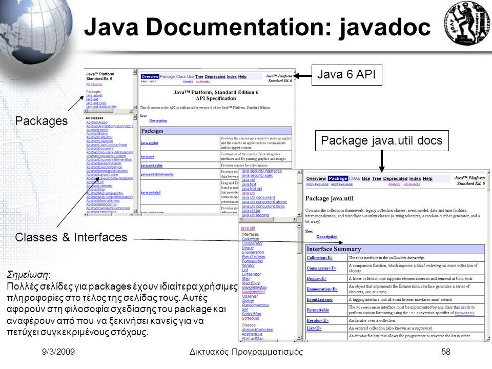 9/3/2009Δικτυακός Προγραμματισμός58 Java Documentation: javadoc Java 6 API Packages Classes & Interfaces Package java.util docs Σημείωση: Πολλές σελίδ