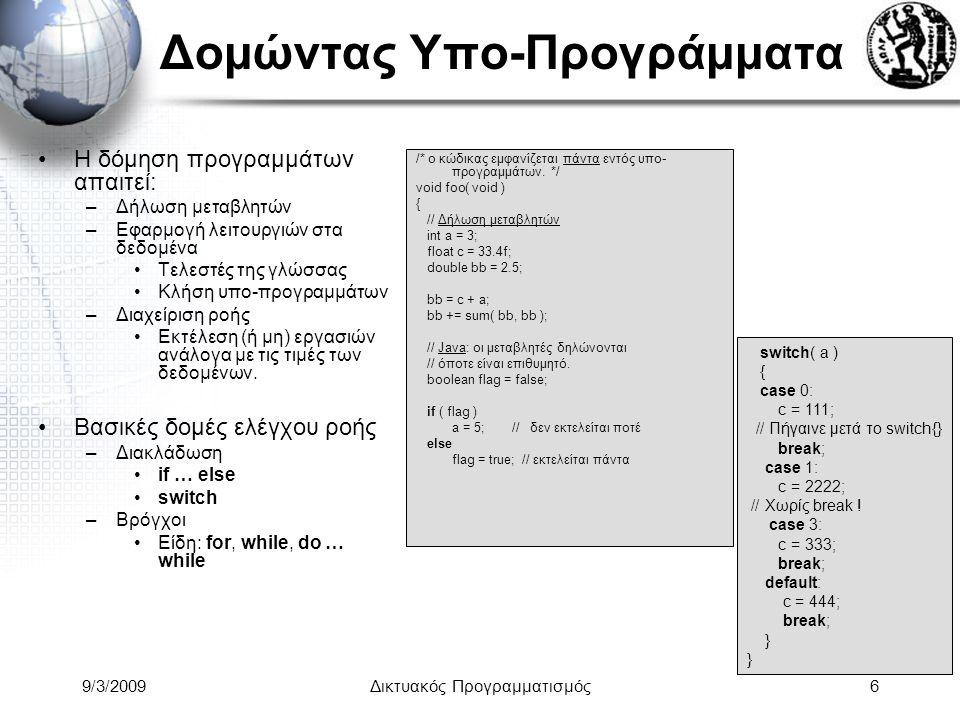 9/3/2009Δικτυακός Προγραμματισμός6 Δομώντας Υπο-Προγράμματα Η δόμηση προγραμμάτων απαιτεί: –Δήλωση μεταβλητών –Εφαρμογή λειτουργιών στα δεδομένα Τελεσ