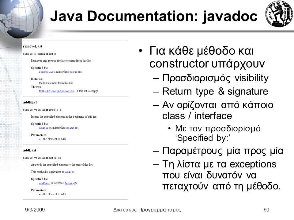9/3/2009Δικτυακός Προγραμματισμός60 Java Documentation: javadoc Για κάθε μέθοδο και constructor υπάρχουν –Προσδιορισμός visibility –Return type & sign
