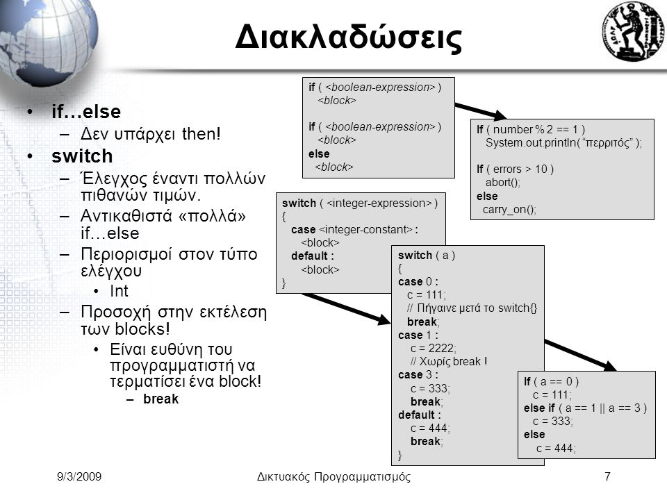 9/3/2009Δικτυακός Προγραμματισμός8 Βρόγχοι Τα τμήματα ενός γενικού βρόγχου είναι: –Initializer, guard, post, body Επιπλέον εντολές βρόγχων –η χρήση τους επιτρέπεται μόνο στο body.