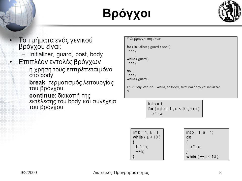 9/3/2009Δικτυακός Προγραμματισμός8 Βρόγχοι Τα τμήματα ενός γενικού βρόγχου είναι: –Initializer, guard, post, body Επιπλέον εντολές βρόγχων –η χρήση το