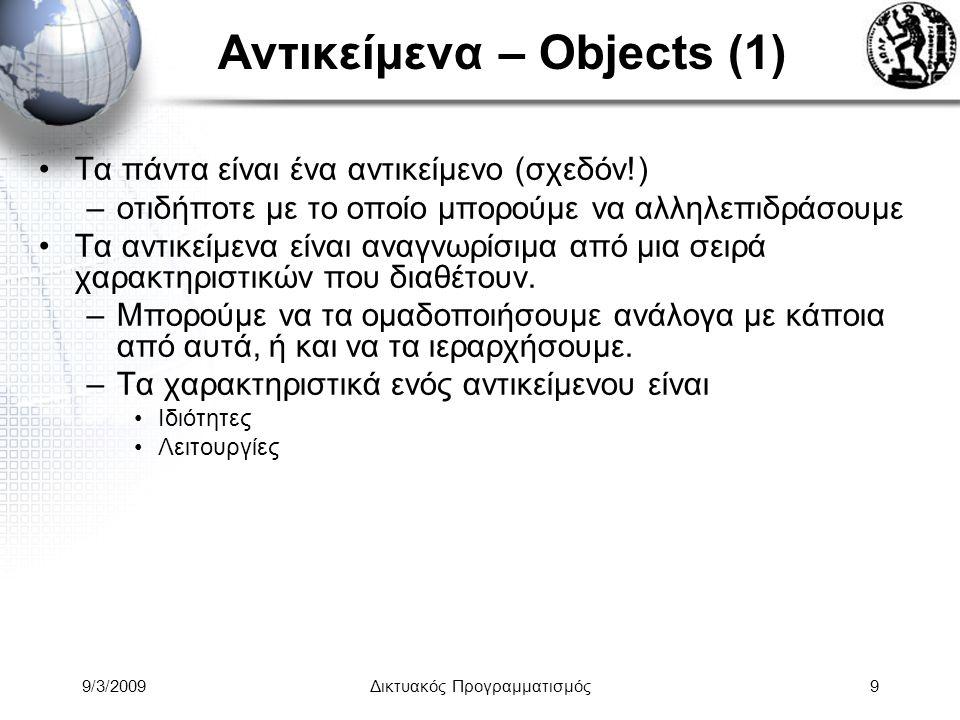 9/3/2009Δικτυακός Προγραμματισμός10 Αντικείμενα – Objects (2) Κατηγορίες Αντικειμένων - Classes –Λέξεις που παραπέμπουν σε οικογένειες ομοειδών πραγμάτων.