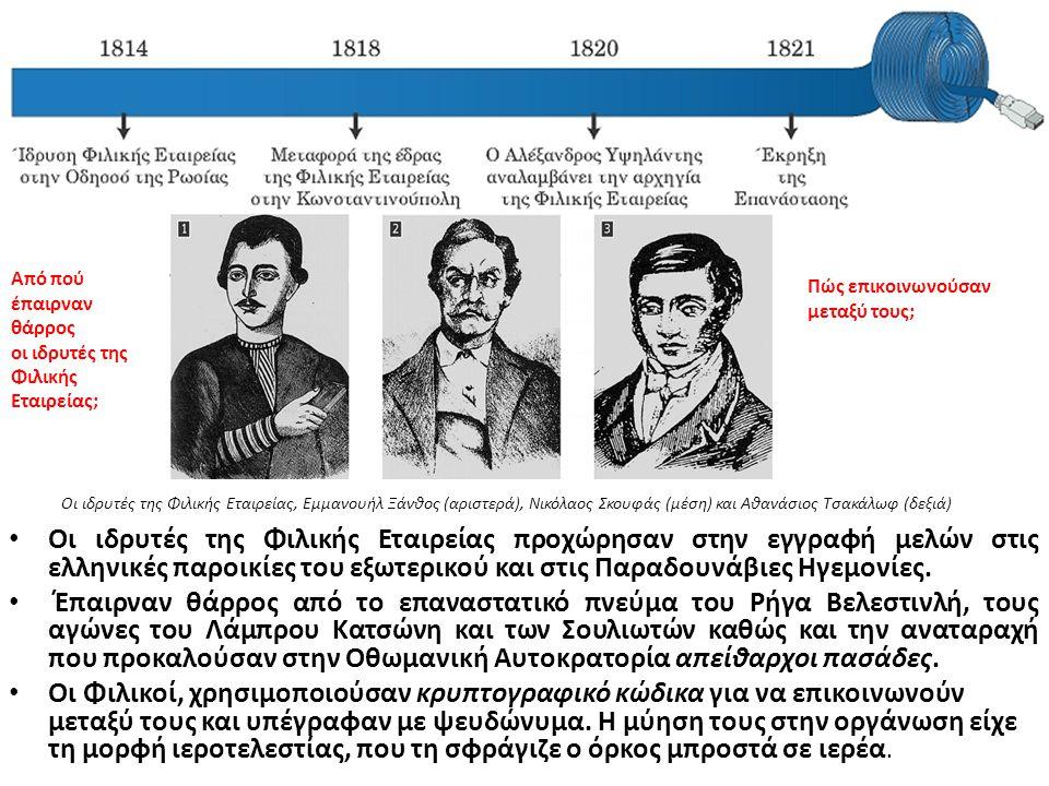 Οι ιδρυτές της Φιλικής Εταιρείας προχώρησαν στην εγγραφή μελών στις ελληνικές παροικίες του εξωτερικού και στις Παραδουνάβιες Ηγεμονίες. Έπαιρναν θάρρ