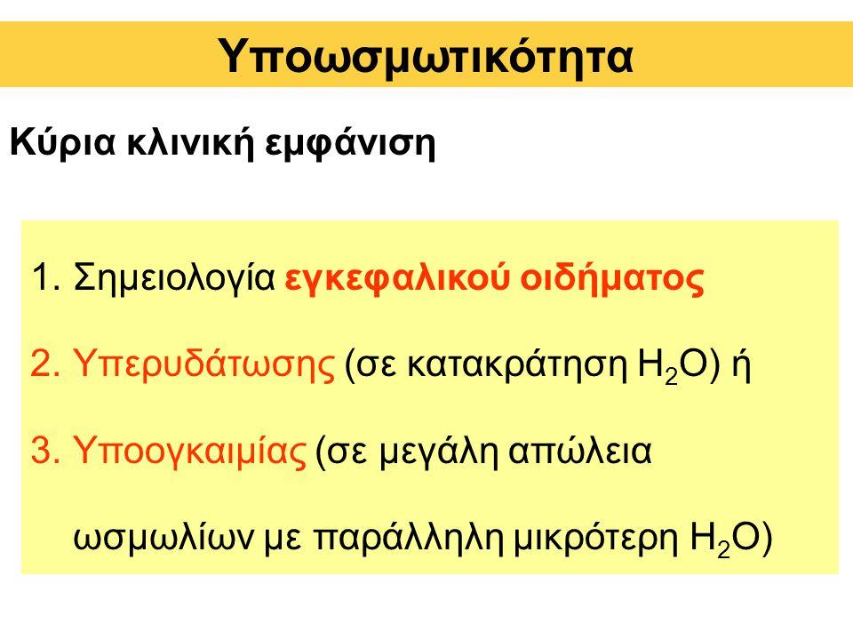 Κύρια κλινική εμφάνιση 1.Σημειολογία εγκεφαλικού οιδήματος 2.Υπερυδάτωσης (σε κατακράτηση H 2 O) ή 3.Υποογκαιμίας (σε μεγάλη απώλεια ωσμωλίων με παράλληλη μικρότερη H 2 O) Υποωσμωτικότητα