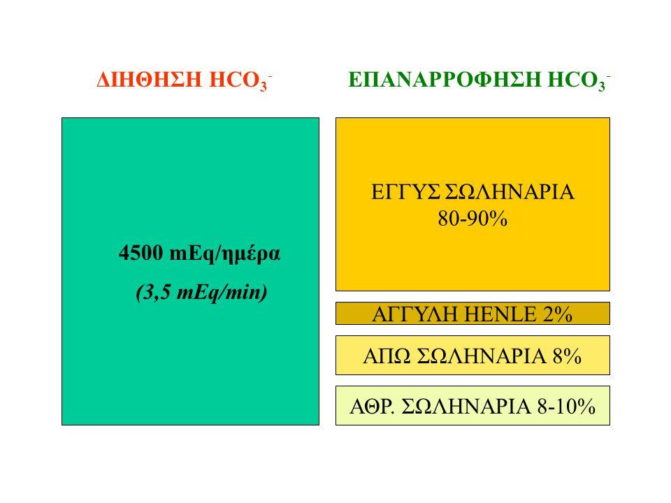 ΕΓΓΥΣ ΣΩΛΗΝΑΡΙΑ 80-90% ΑΓΓΥΛΗ HENLE 2% ΑΠΩ ΣΩΛΗΝΑΡΙΑ 8% ΔΙΗΘΗΣΗ HCO 3 - ΕΠΑΝΑΡΡΟΦΗΣΗ HCO 3 - 4500 mEq/ημέρα (3,5 mEq/min) ΑΘΡ.
