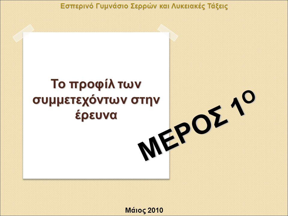 Εσπερινό Γυμνάσιο Σερρών και Λυκειακές Τάξεις ΜΕΡΟΣ 1 Ο Μάιος 2010 Το προφίλ των συμμετεχόντων στην έρευνα