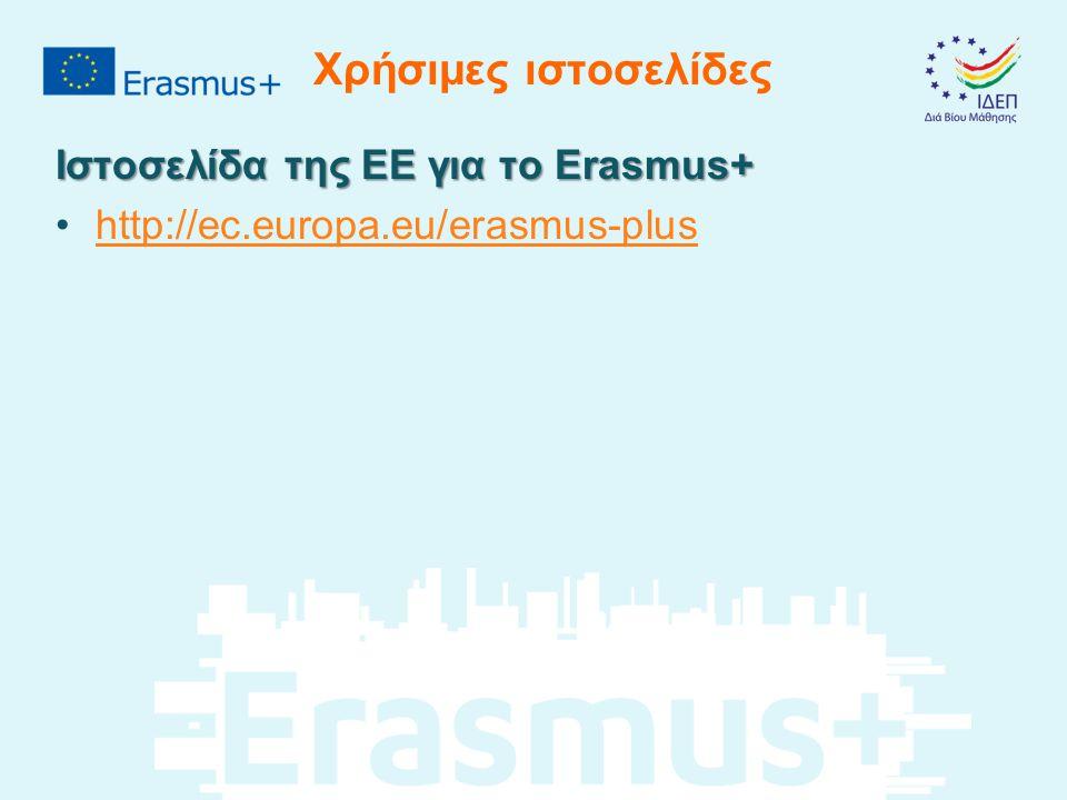 Χρήσιμες ιστοσελίδες Ιστοσελίδα της ΕΕ για το Erasmus+ http://ec.europa.eu/erasmus-plus