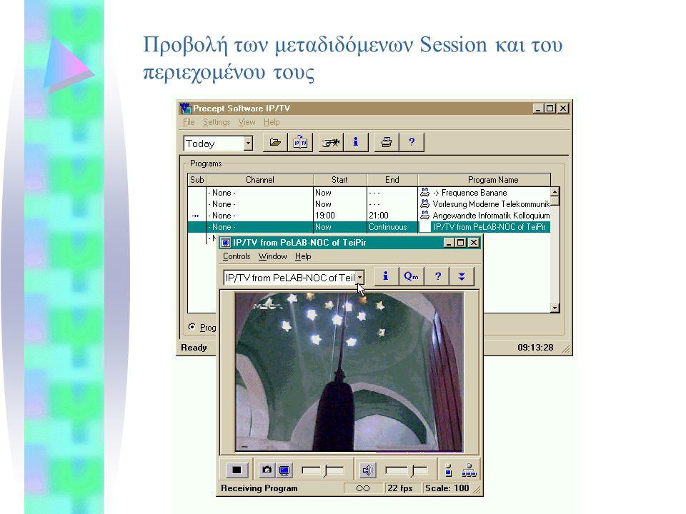 Προβολή των μεταδιδόμενων Session και του περιεχομένου τους