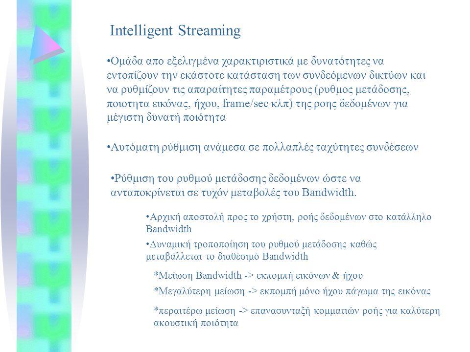 Intelligent Streaming Ομάδα απο εξελιγμένα χαρακτιριστικά με δυνατότητες να εντοπίζουν την εκάστοτε κατάσταση των συνδεόμενων δικτύων και να ρυθμίζουν τις απαραίτητες παραμέτρους (ρυθμος μετάδοσης, ποιοτητα εικόνας, ήχου, frame/sec κλπ) της ροης δεδομένων για μέγιστη δυνατή ποιότητα Αυτόματη ρύθμιση ανάμεσα σε πολλαπλές ταχύτητες συνδέσεων Ρύθμιση του ρυθμού μετάδοσης δεδομένων ώστε να ανταποκρίνεται σε τυχόν μεταβολές του Bandwidth.
