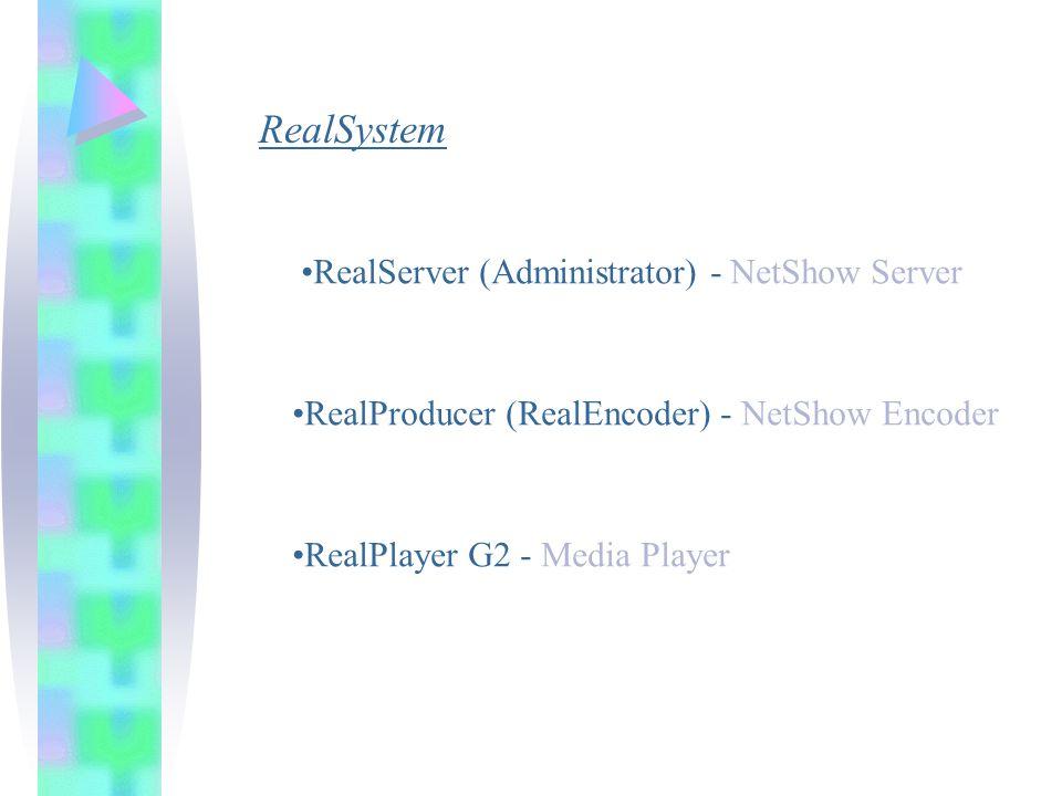 RealSystem RealServer (Administrator) - NetShow Server RealProducer (RealEncoder) - NetShow Encoder RealPlayer G2 - Media Player