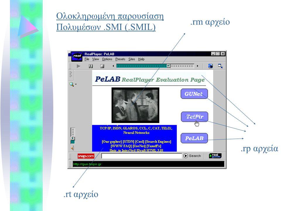 .rp αρχεία.rt αρχείο.rm αρχείο Ολοκληρωμένη παρουσίαση Πολυμέσων.SMI (.SMIL)