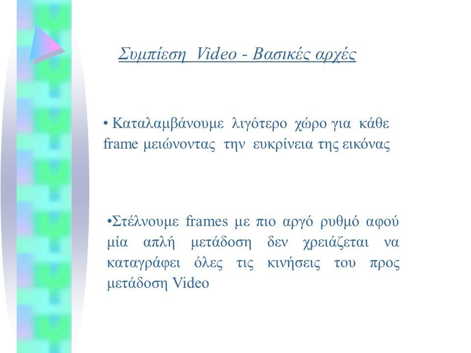Συμπίεση Video - Βασικές αρχές Στέλνουμε frames με πιο αργό ρυθμό αφού μία απλή μετάδοση δεν χρειάζεται να καταγράφει όλες τις κινήσεις του προς μετάδοση Video Καταλαμβάνουμε λιγότερο χώρο για κάθε frame μειώνοντας την ευκρίνεια της εικόνας