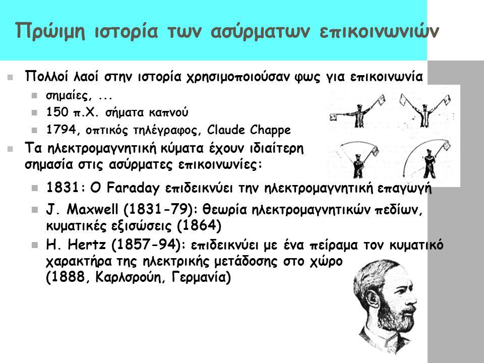 Πρώιμη ιστορία των ασύρματων επικοινωνιών Πολλοί λαοί στην ιστορία χρησιμοποιούσαν φως για επικοινωνία σημαίες,... 150 π.Χ. σήματα καπνού 1794, οπτικό