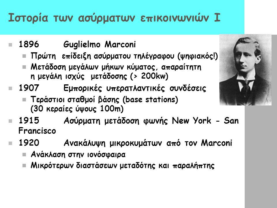 Ιστορία των ασύρματων επικοινωνιών I 1896Guglielmo Marconi Πρώτη επίδειξη ασύρματου τηλέγραφου (ψηφιακός!) Μετάδοση μεγάλων μήκων κύματος, απαραίτητη