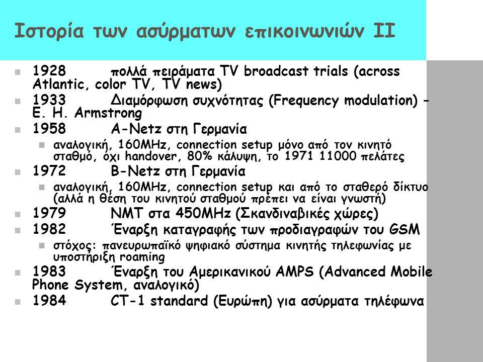 Ιστορία των ασύρματων επικοινωνιών II 1928 πολλά πειράματα TV broadcast trials (across Atlantic, color TV, TV news) 1933 Διαμόρφωση συχνότητας (Freque
